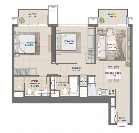 Planning of the apartment 2BR, 1015.57 in Burj Royale, Dubai
