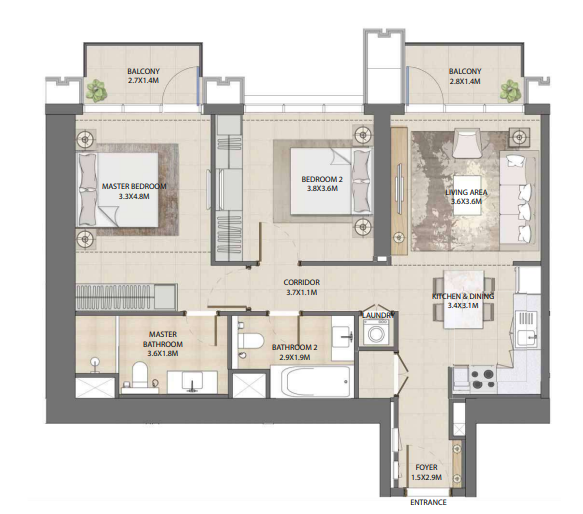 Planning of the apartment 2BR, 1017.08 in Burj Royale, Dubai