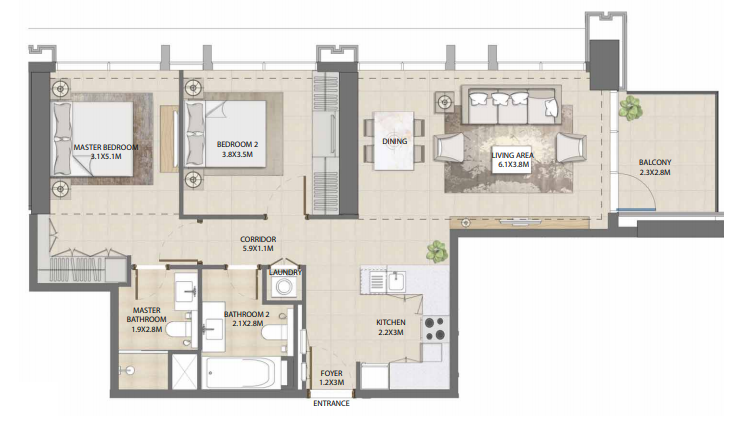 Planning of the apartment 2BR, 1038.5 in Burj Royale, Dubai