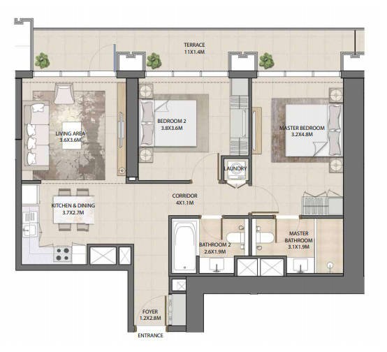 Planning of the apartment 2BR, 1047.44 in Burj Royale, Dubai