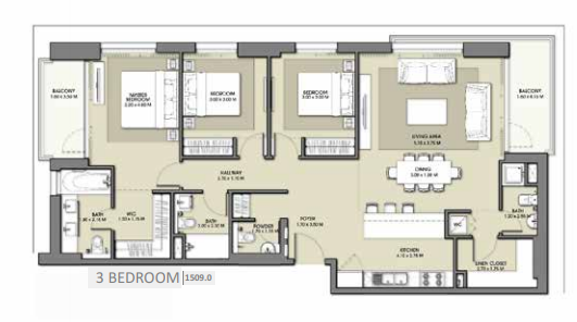 Planning of the apartment 3BR, 1509 in Park Point Apartments, Dubai