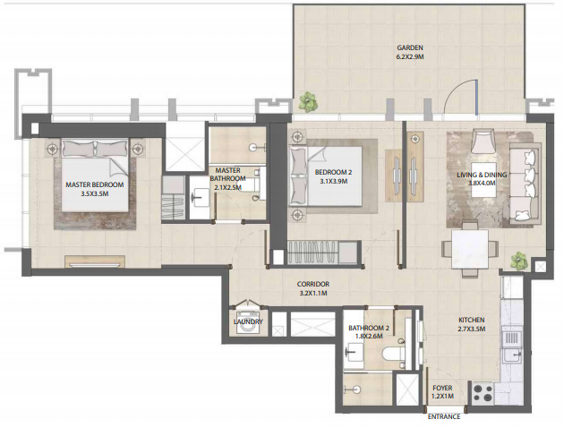 Planning of the apartment 2BR, 1057.13 in Burj Royale, Dubai