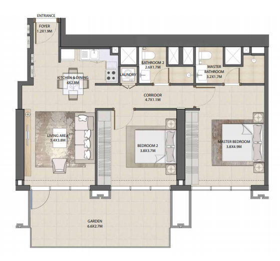 Planning of the apartment 2BR, 1062.4 in Burj Royale, Dubai