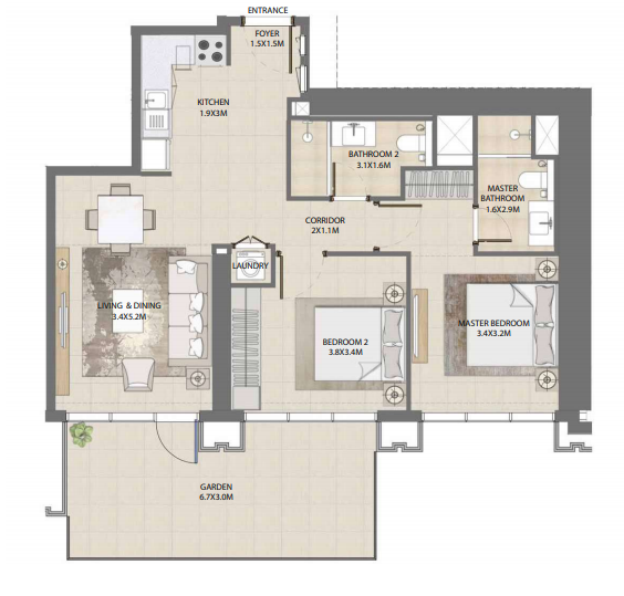 Planning of the apartment 2BR, 1066.6 in Burj Royale, Dubai
