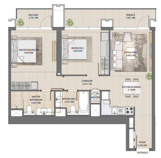 Planning of the apartment 2BR, 1076.82 in Burj Royale, Dubai