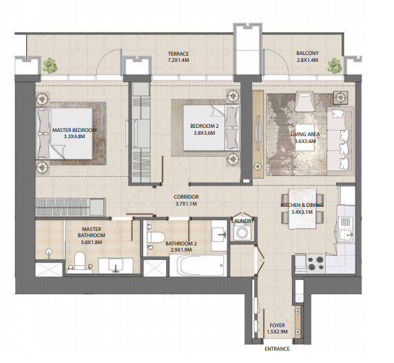 Planning of the apartment 2BR, 1078.33 in Burj Royale, Dubai