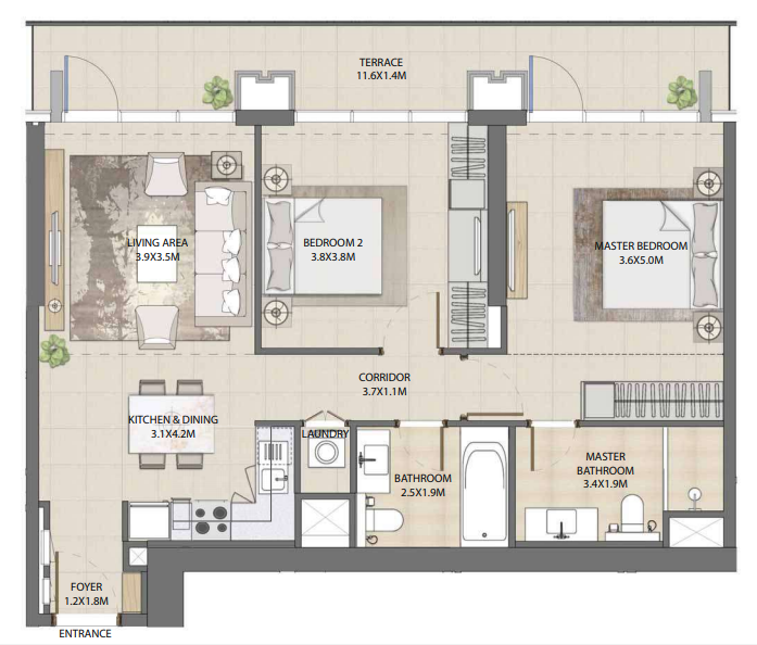 Planning of the apartment 2BR, 1090.27 in Burj Royale, Dubai