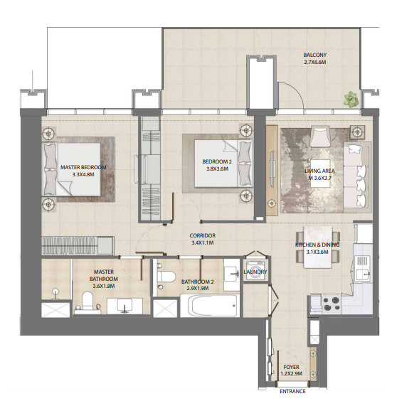 Planning of the apartment 2BR, 1108.58 in Burj Royale, Dubai