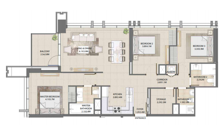 Planning of the apartment 3BR, 1311.9 in Burj Royale, Dubai