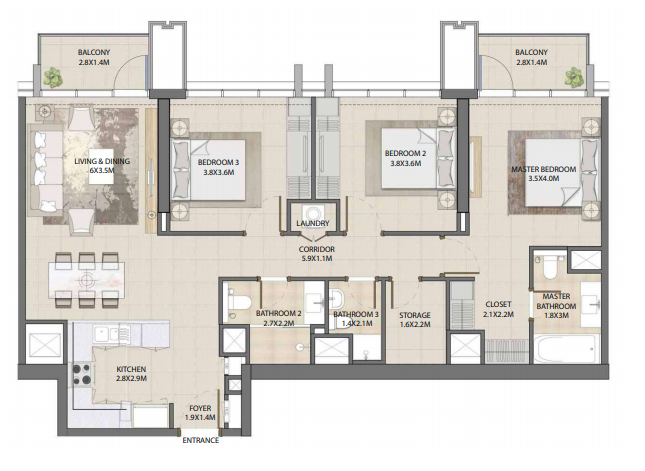 Planning of the apartment 3BR, 1351.52 in Burj Royale, Dubai