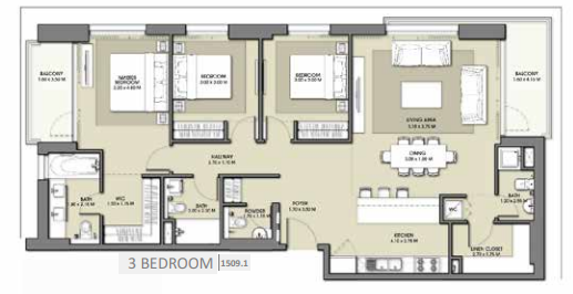 Planning of the apartment 3BR, 1509.1 in Park Point Apartments, Dubai