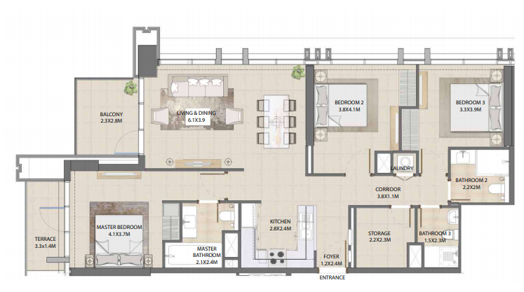 Planning of the apartment 3BR, 1364.64 in Burj Royale, Dubai