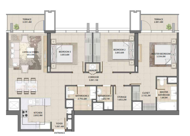 Planning of the apartment 3BR, 1368.53 in Burj Royale, Dubai