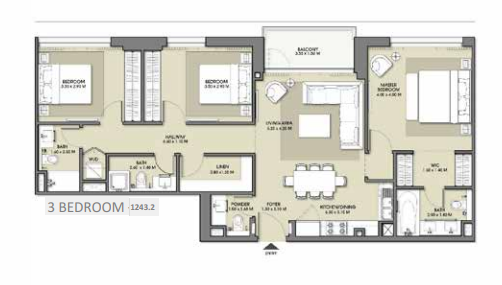 Planning of the apartment 3BR, 1242.2 in Park Point Apartments, Dubai