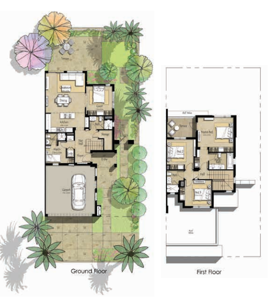 Planning of the apartment Villas 4BR, 2422 in Zahra Townhouses, Dubai
