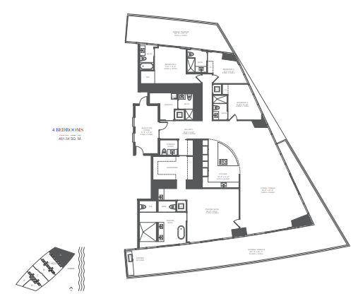 Planning of the apartment 4BR, 4322 in Armani Residences, Dubai