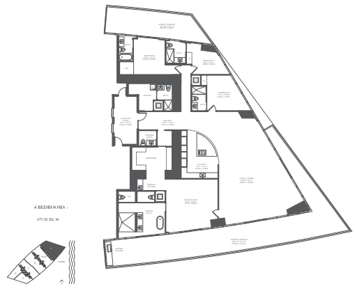 Planning of the apartment 4BR, 5135 in Armani Residences, Dubai