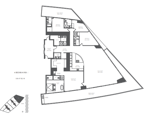 Planning of the apartment 4BR, 5710 in Armani Residences, Dubai