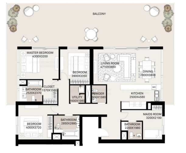 Planning of the apartment 3BR, 2875.25 in Executive Residences, Dubai
