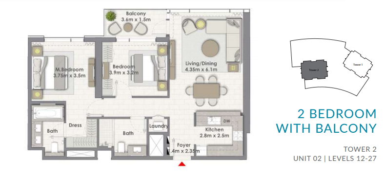 Planning of the apartment 2BR, 1102.55 in Creekside 18, Dubai