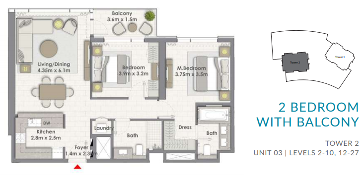 Planning of the apartment 2BR, 1103.09 in Creekside 18, Dubai