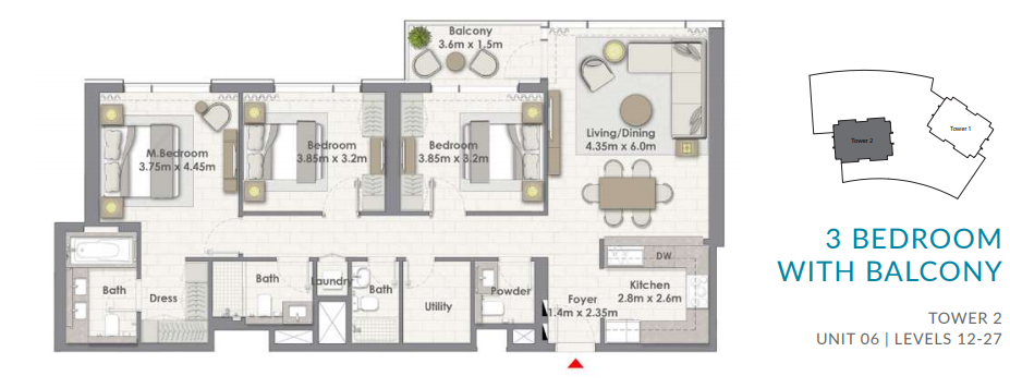 Planning of the apartment 3BR, 1441.4 in Creekside 18, Dubai