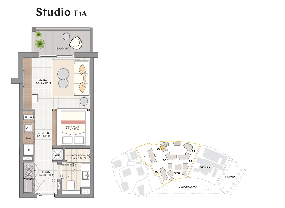 Planning of the apartment Studios, 409 in Beachside Residences, Dubai