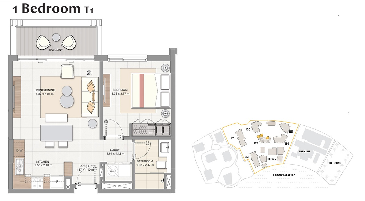 Planning of the apartment 1BR, 635 in Beachside Residences, Dubai