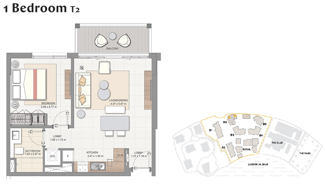 Planning of the apartment 1BR, 646 in Beachside Residences, Dubai