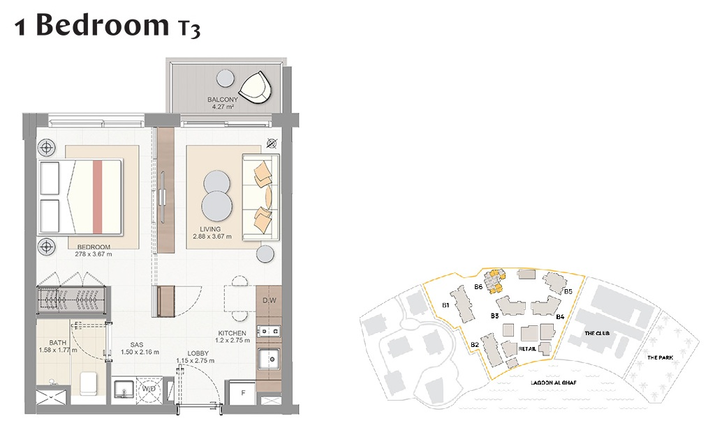 Planning of the apartment 1BR, 463 in Beachside Residences, Dubai