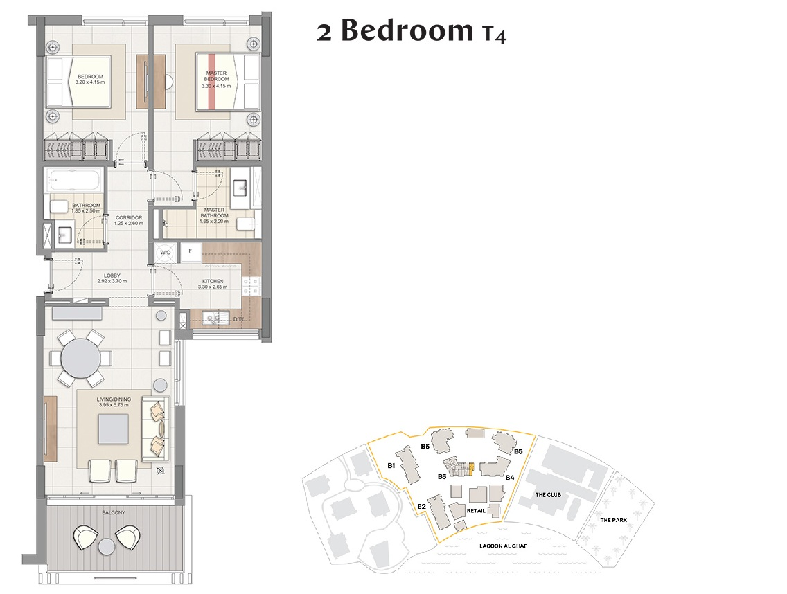 Planning of the apartment 2BR, 1023 in Beachside Residences, Dubai