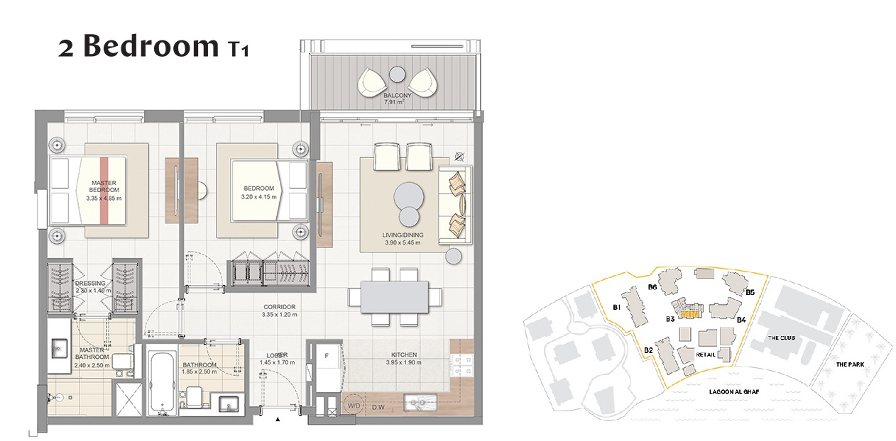 Planning of the apartment 2BR, 969 in Beachside Residences, Dubai