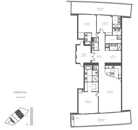 Planning of the apartment 3BR, 4040 in Armani Residences, Dubai