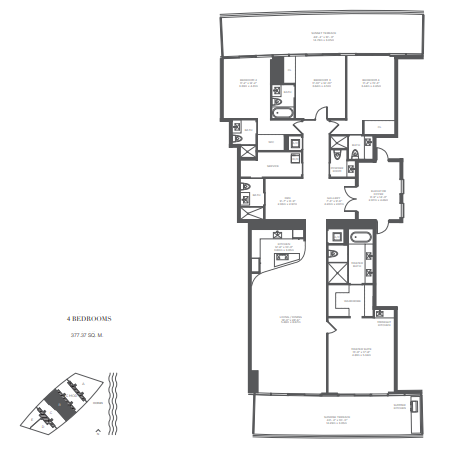 Planning of the apartment 4BR, 4061 in Armani Residences, Dubai