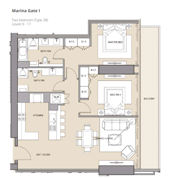 Planning of the apartment 2BR, 1274.35 in The Residences at Marina Gate, Dubai