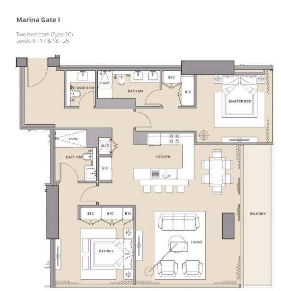 Planning of the apartment 2BR, 1386.3 in The Residences at Marina Gate, Dubai
