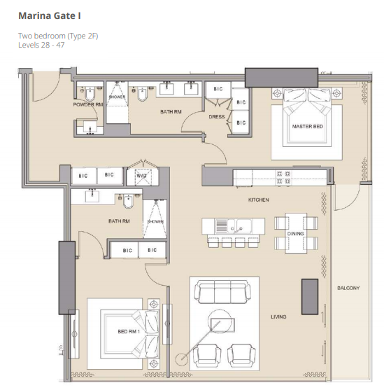 Planning of the apartment 2BR, 1402.76 in The Residences at Marina Gate, Dubai