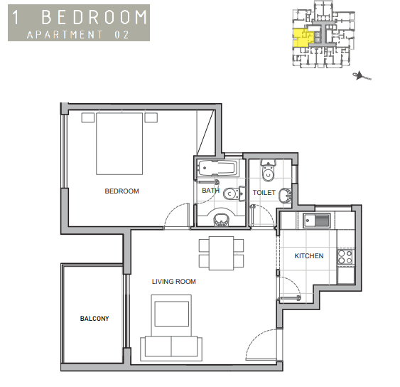 Planning of the apartment 1BR, 667 in Amina Residence 2, Dubai
