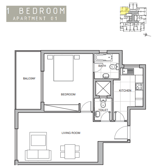 Planning of the apartment 1BR, 786 in Amina Residence 2, Dubai