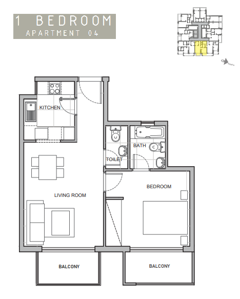 Planning of the apartment 1BR, 624 in Amina Residence 2, Dubai
