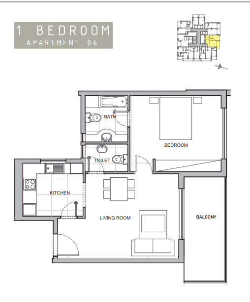 Planning of the apartment 1BR, 710 in Amina Residence 2, Dubai