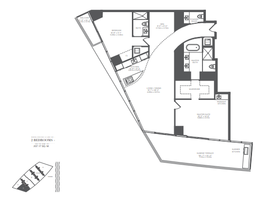 Planning of the apartment 2BR, 2230 in Armani Residences, Dubai