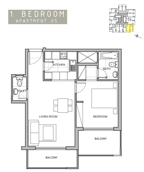 Planning of the apartment 1BR, 721 in Amina Residence 2, Dubai