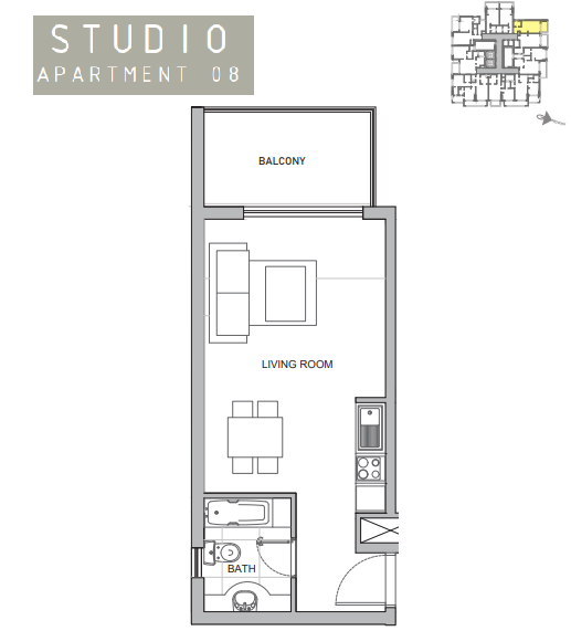 Planning of the apartment Studios, 419 in Amina Residence 2, Dubai