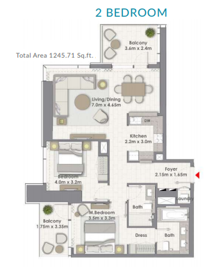 Planning of the apartment 2BR, 1245.71 in Creek Rise Tower 2, Dubai