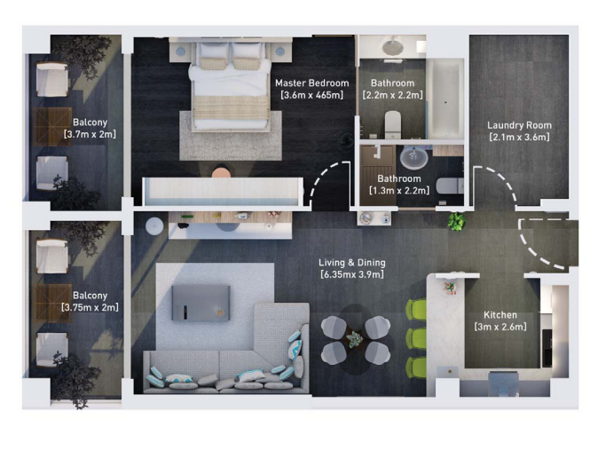 Planning of the apartment 1BR, 978.55 in Hyati Residence, Dubai