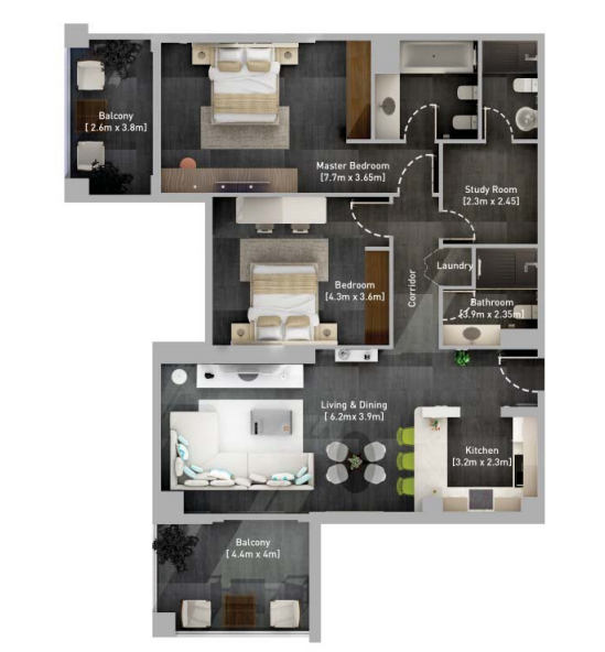 Planning of the apartment 2BR, 1374.98 in Hyati Residence, Dubai