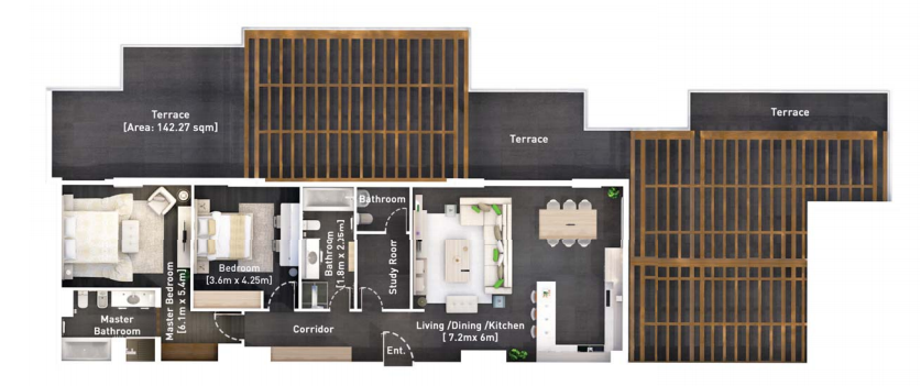 Planning of the apartment 2BR, 2430.4 in Hyati Residence, Dubai