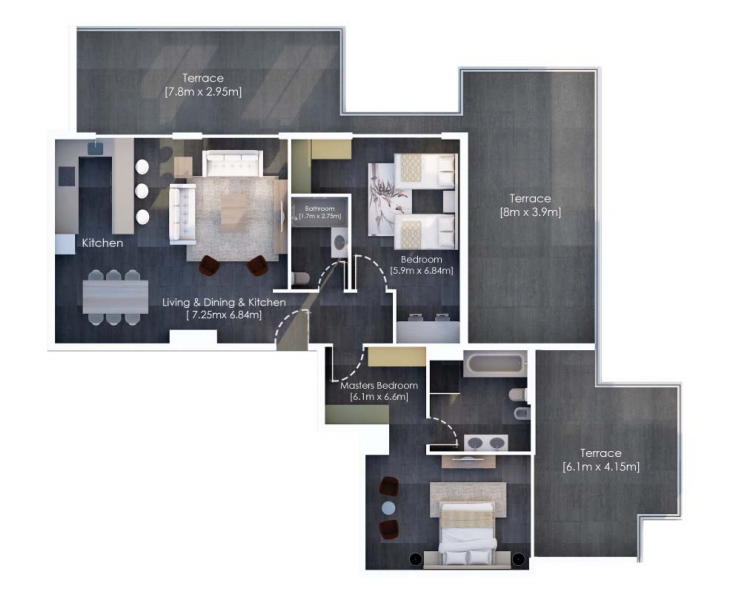 Planning of the apartment 2BR, 2153.12 in Hyati Residence, Dubai