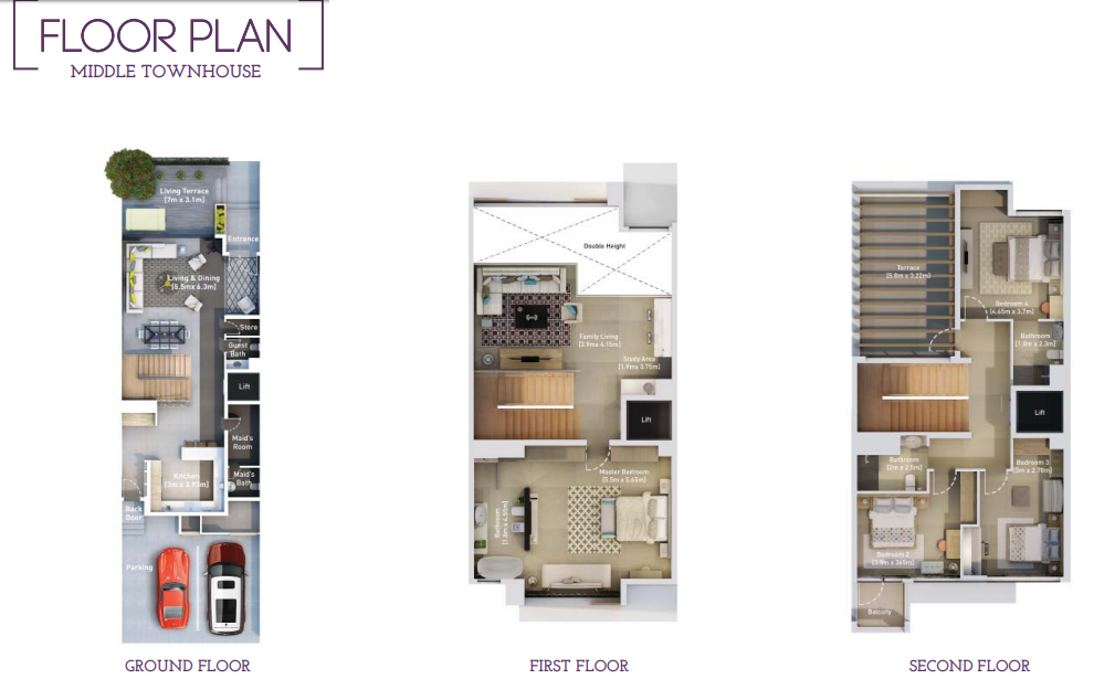 Planning of the apartment Townhouses, 3303 in Hyati Residence, Dubai